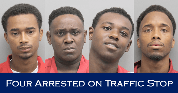 Four Arrested after Deputies Find Firearms and Marijuana on Traffic Stop