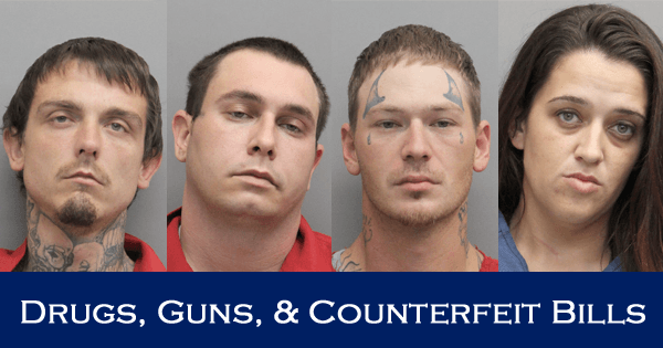 Suspicious Person Call Leads to Four Arrests for Drugs, Firearms, and Counterfeit Bills