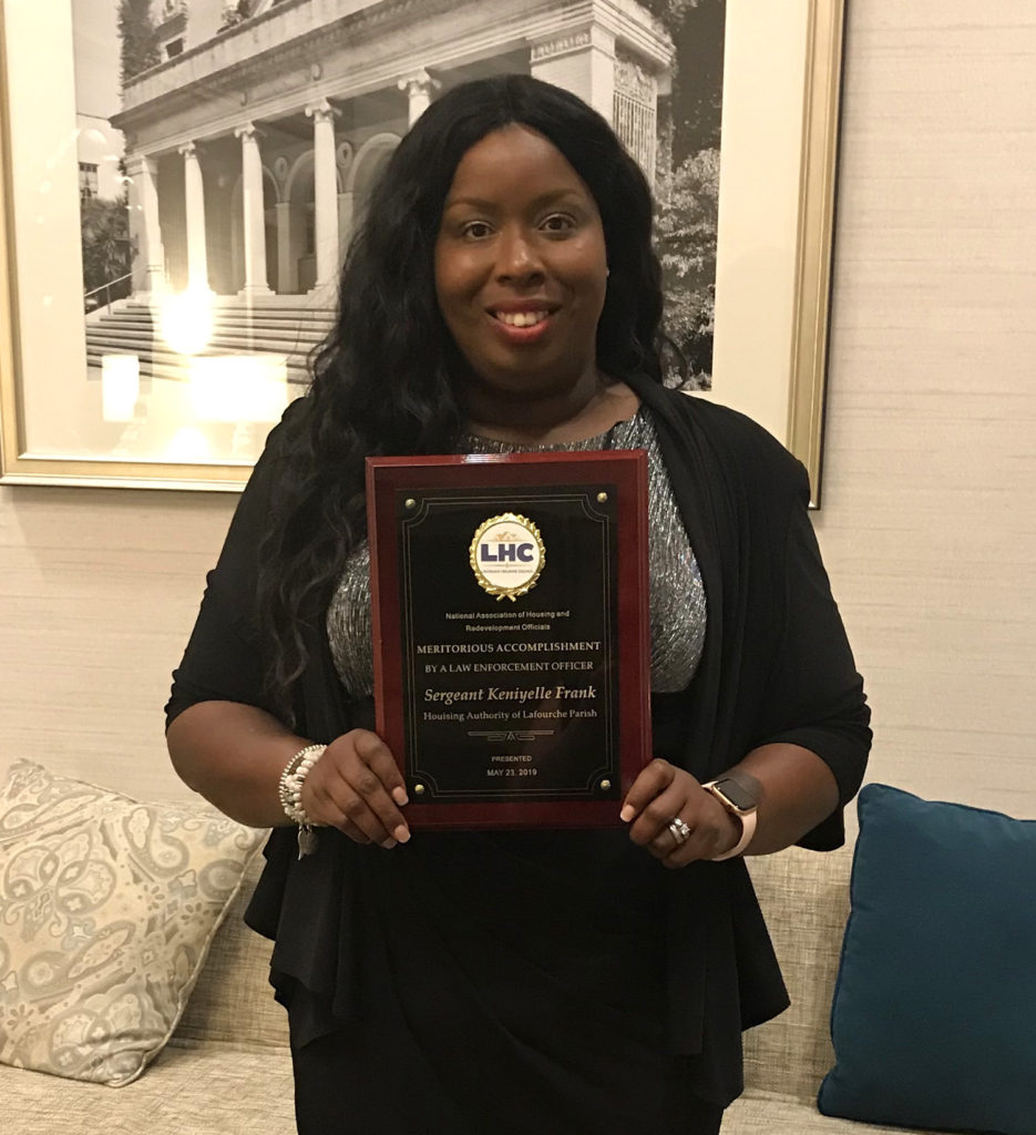 Sergeant Keniyelle Frank was honored by the Louisiana Housing Council on May 24, 2019.