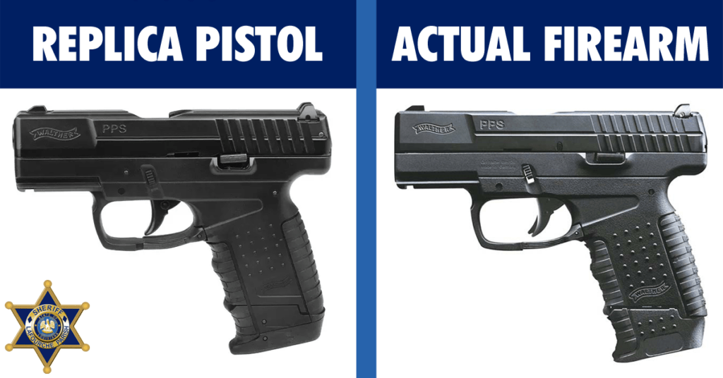 graphic showing a side-by-side comparison of a replica pistol and an actual firearm which look nearly identical