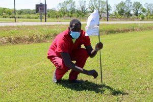 Inmate Terrell Joseph plants a white flag.