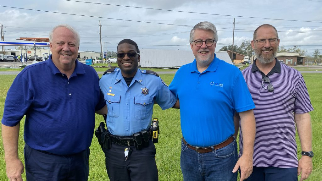 From L to R: Pastor Whitney Alexander, Detective Brandon Queen, Rev. Dr. Dean Weaver, and Pastor Bill Crawford - all members of the Evangelical Presbyterian Church.